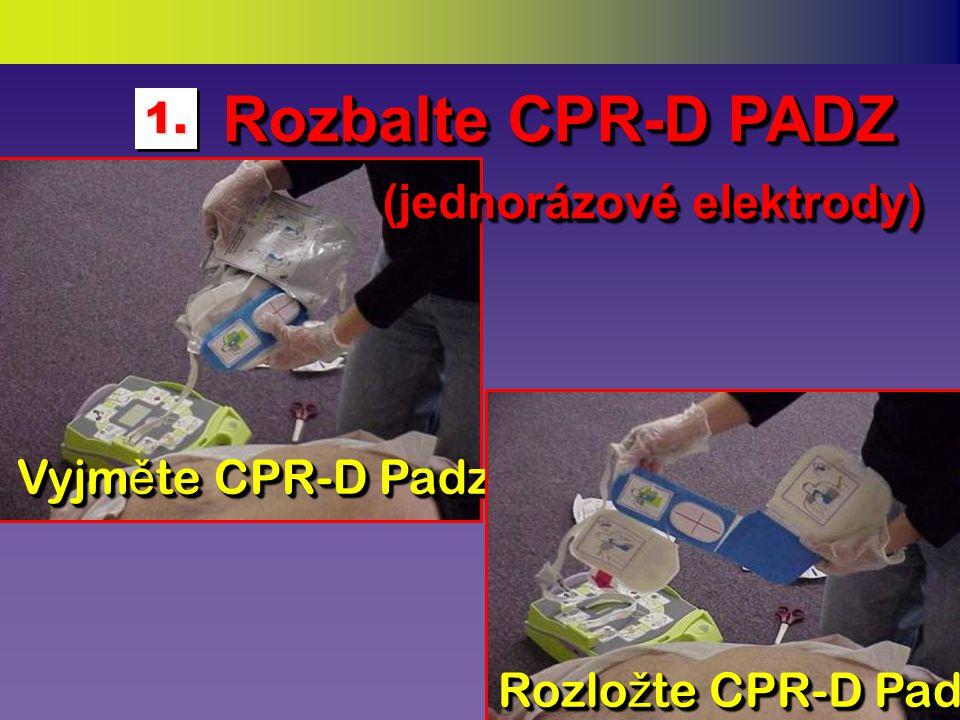 (je-li to nezbytné) (je-li to nezbytné)  Oholte ochlupení v potřebných místech  Tato místa otřete nasucho ubrouskem ZOLL AED Plus obsahuje rovněž potencionálně potřebné doplňky: potencionálně potřebné doplňky:NůžkyRukaviceUbrousek Holící strojek Utěrka na ruce KPR obličejová rouška Připravte hrudník pro elektrody