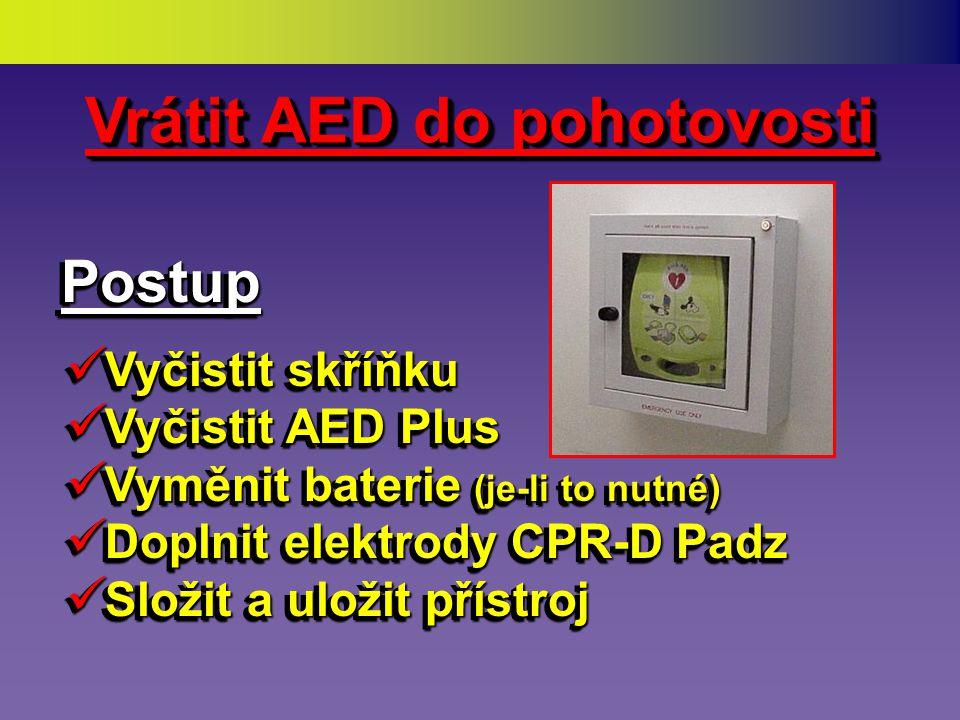 Kdy nepoužíváme AED •Pacient je mladší než 1 rok •(Pozn: AHA i ERC Guidelines 2005 schválilo věk od 1 roku, AED ZOLL je konstrukčně přizpůsoben) •Pacient je v explozivním prostředí •Pacient je vytažen z vody (usušit) •Při vážných zraněních vylučujících jednoznačně přežití •Pacient je mladší než 1 rok •(Pozn: AHA i ERC Guidelines 2005 schválilo věk od 1 roku, AED ZOLL je konstrukčně přizpůsoben) •Pacient je v explozivním prostředí •Pacient je vytažen z vody (usušit) •Při vážných zraněních vylučujících jednoznačně přežití