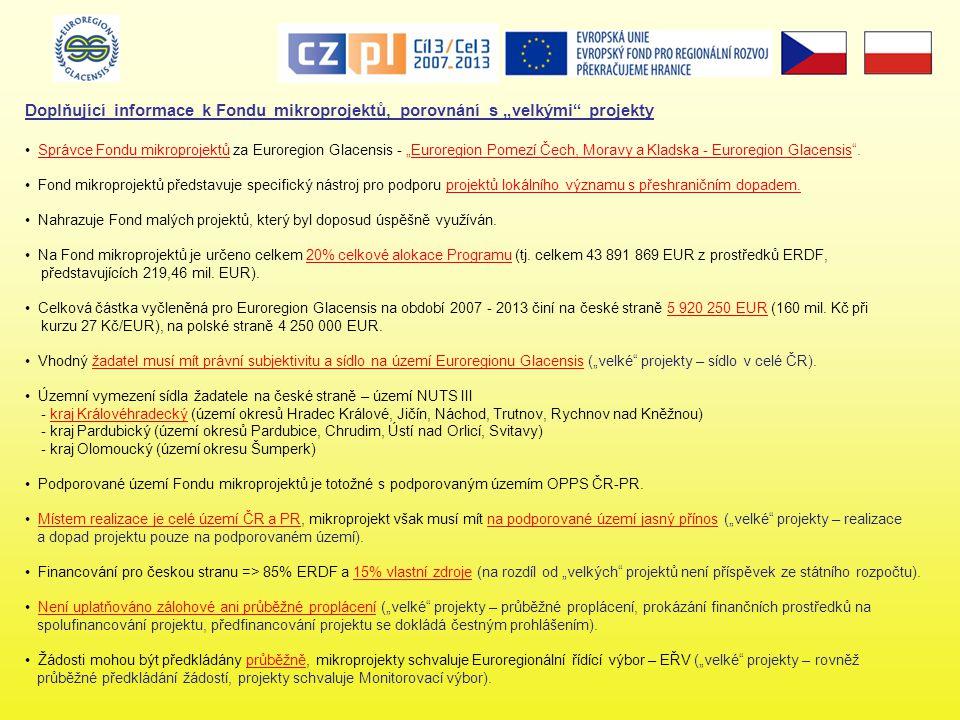 """Doplňující informace k Fondu mikroprojektů, porovnání s """"velkými projekty • Správce Fondu mikroprojektů za Euroregion Glacensis - """"Euroregion Pomezí Čech, Moravy a Kladska - Euroregion Glacensis ."""