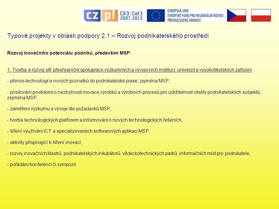 Typové projekty v oblasti podpory 2.1 – Rozvoj podnikatelského prostředí Rozvoj inovačního potenciálu podniků, především MSP: 1.