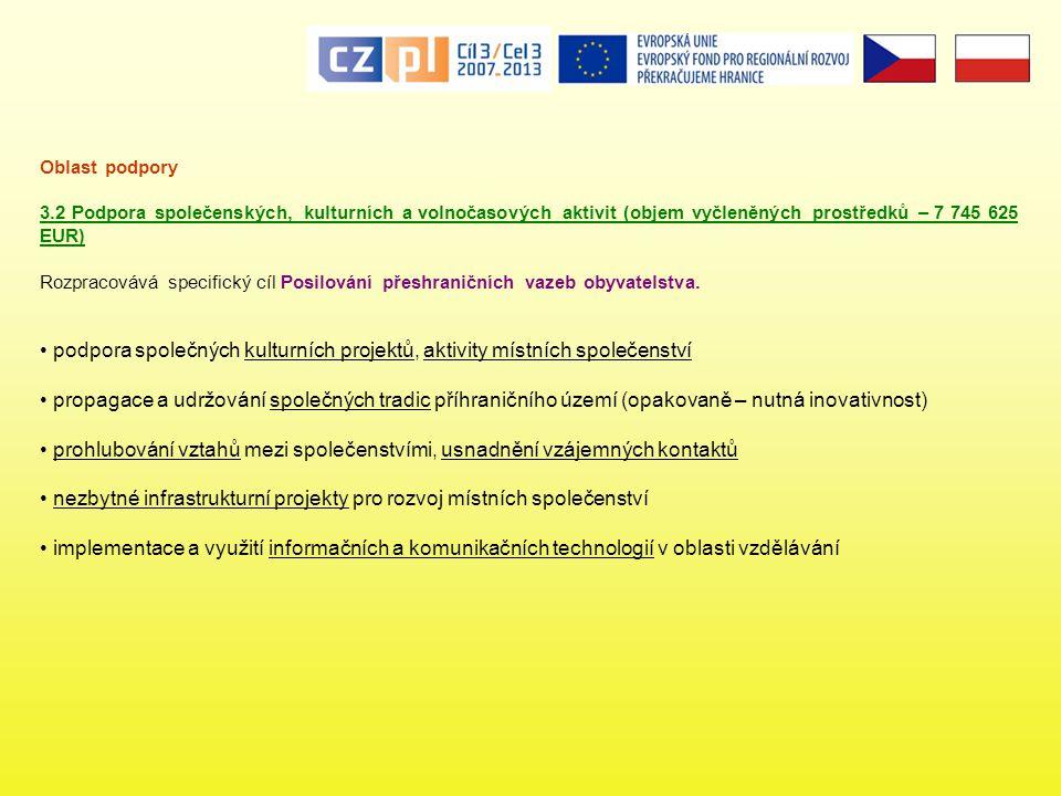 Oblast podpory 3.2 Podpora společenských, kulturních a volnočasových aktivit (objem vyčleněných prostředků – 7 745 625 EUR) Rozpracovává specifický cíl Posilování přeshraničních vazeb obyvatelstva.