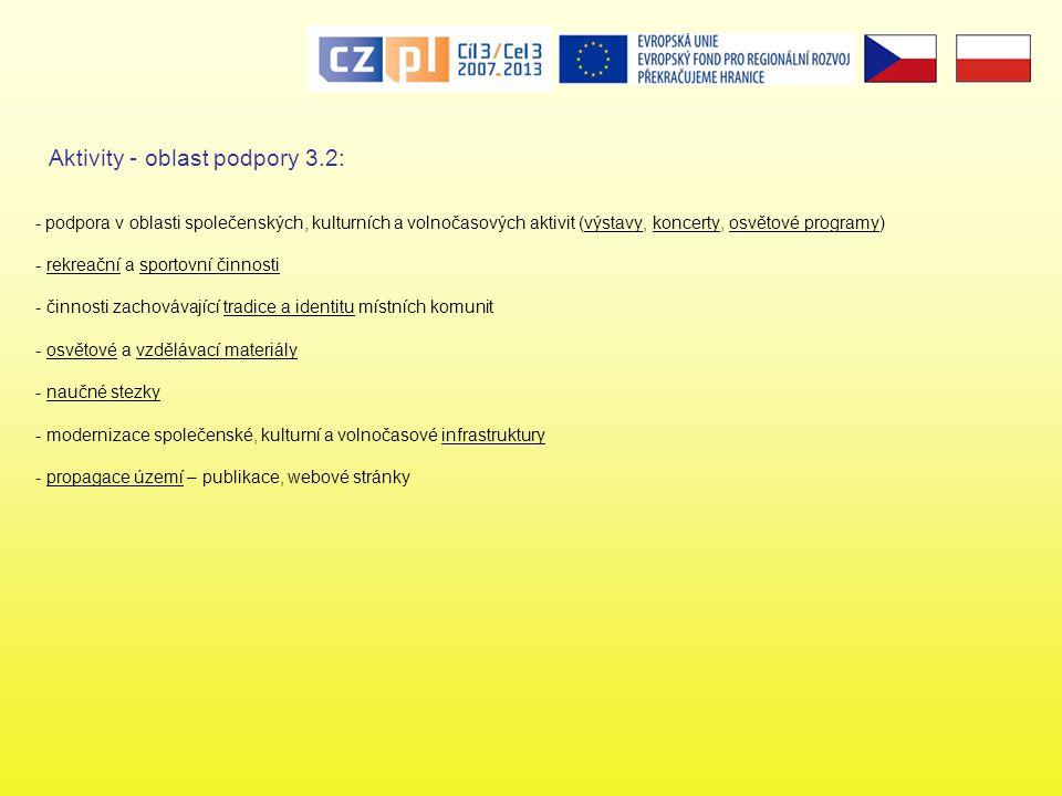 - podpora v oblasti společenských, kulturních a volnočasových aktivit (výstavy, koncerty, osvětové programy) - rekreační a sportovní činnosti - činnosti zachovávající tradice a identitu místních komunit - osvětové a vzdělávací materiály - naučné stezky - modernizace společenské, kulturní a volnočasové infrastruktury - propagace území – publikace, webové stránky Aktivity - oblast podpory 3.2: