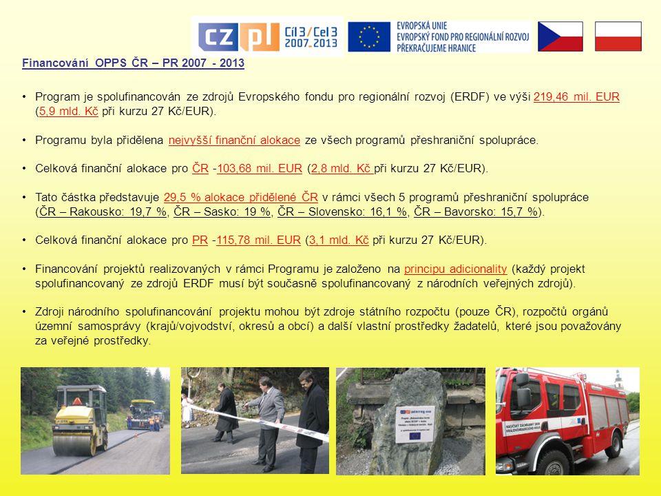 Financování OPPS ČR – PR 2007 - 2013 •Program je spolufinancován ze zdrojů Evropského fondu pro regionální rozvoj (ERDF) ve výši 219,46 mil.