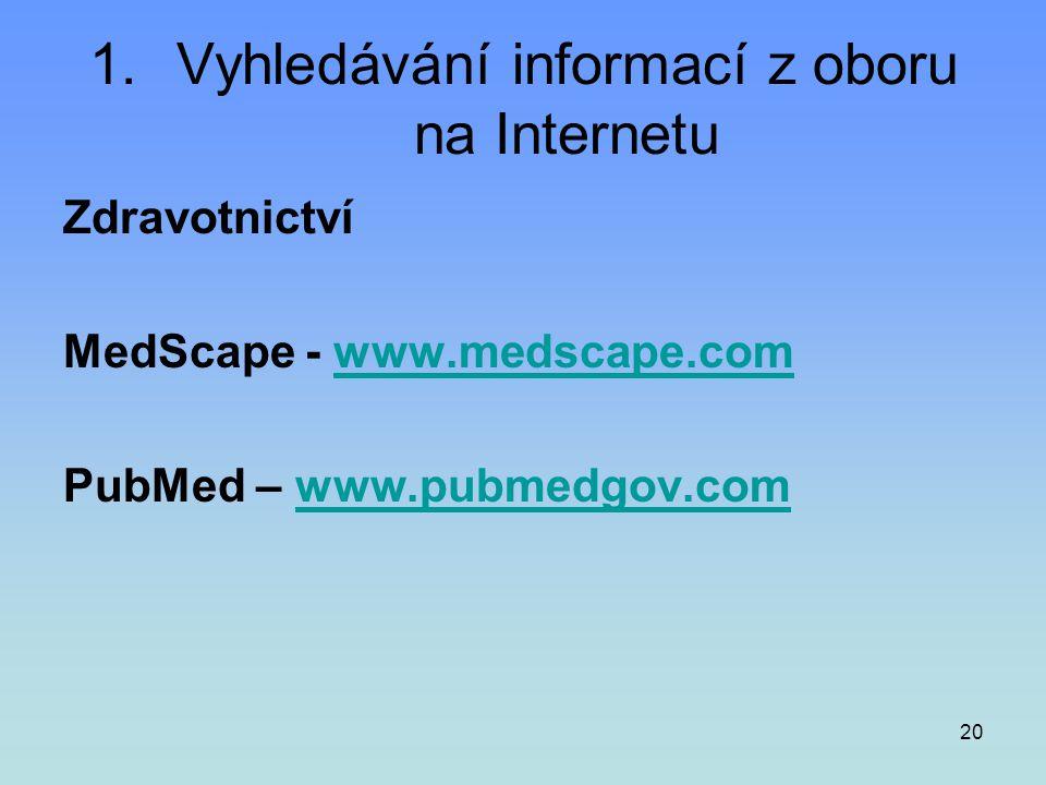 20 1.Vyhledávání informací z oboru na Internetu Zdravotnictví MedScape - www.medscape.comwww.medscape.com PubMed – www.pubmedgov.comwww.pubmedgov.com