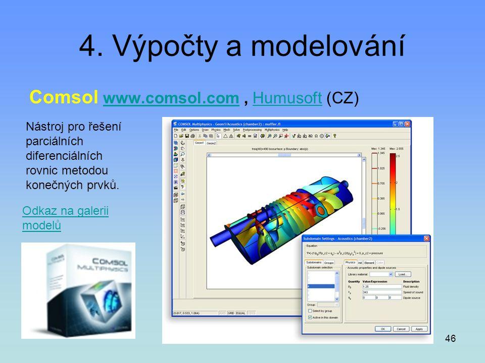 46 4. Výpočty a modelování Comsol www.comsol.com, Humusoft (CZ)www.comsol.comHumusoft Nástroj pro řešení parciálních diferenciálních rovnic metodou ko