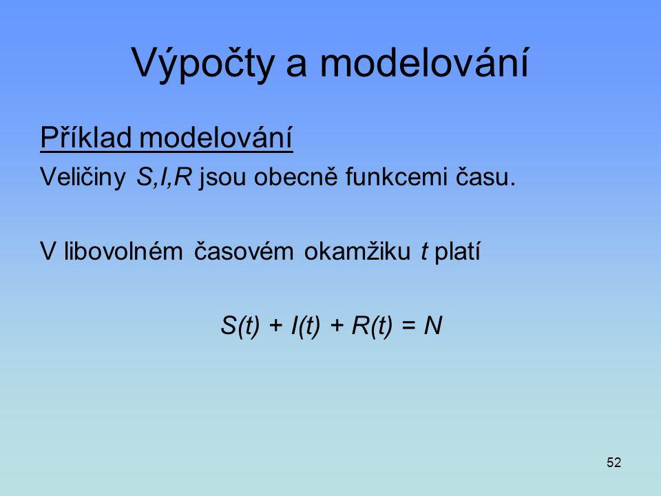 52 Výpočty a modelování Příklad modelování Veličiny S,I,R jsou obecně funkcemi času. V libovolném časovém okamžiku t platí S(t) + I(t) + R(t) = N