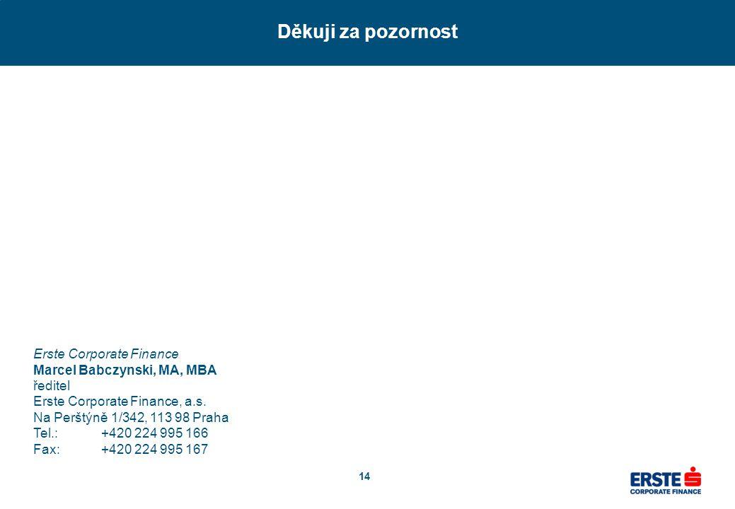 14 Děkuji za pozornost Erste Corporate Finance Marcel Babczynski, MA, MBA ředitel Erste Corporate Finance, a.s. Na Perštýně 1/342, 113 98 Praha Tel.:+