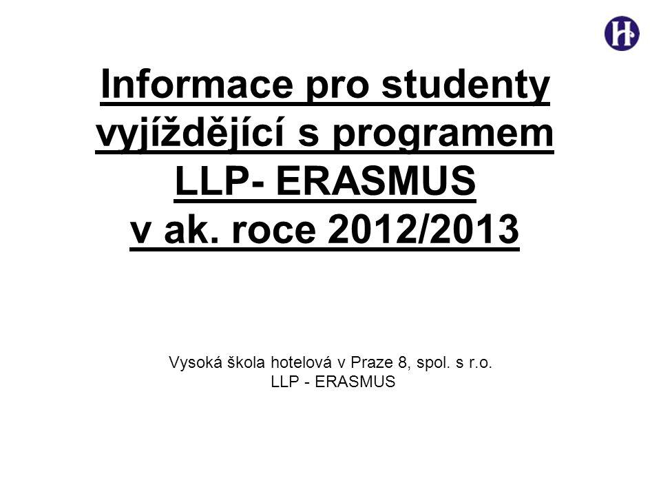 Informace pro studenty vyjíždějící s programem LLP- ERASMUS v ak.