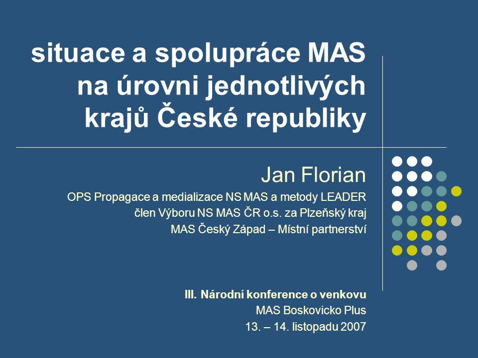 situace a spolupráce MAS na úrovni jednotlivých krajů České republiky Jan Florian OPS Propagace a medializace NS MAS a metody LEADER člen Výboru NS MA