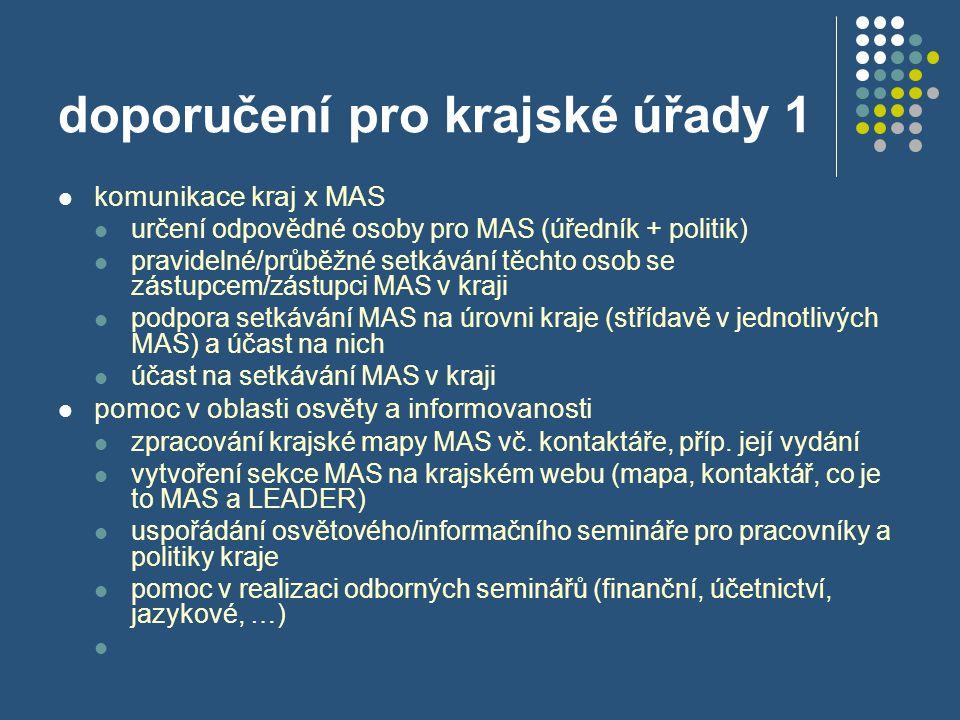 doporučení pro krajské úřady 1  komunikace kraj x MAS  určení odpovědné osoby pro MAS (úředník + politik)  pravidelné/průběžné setkávání těchto oso