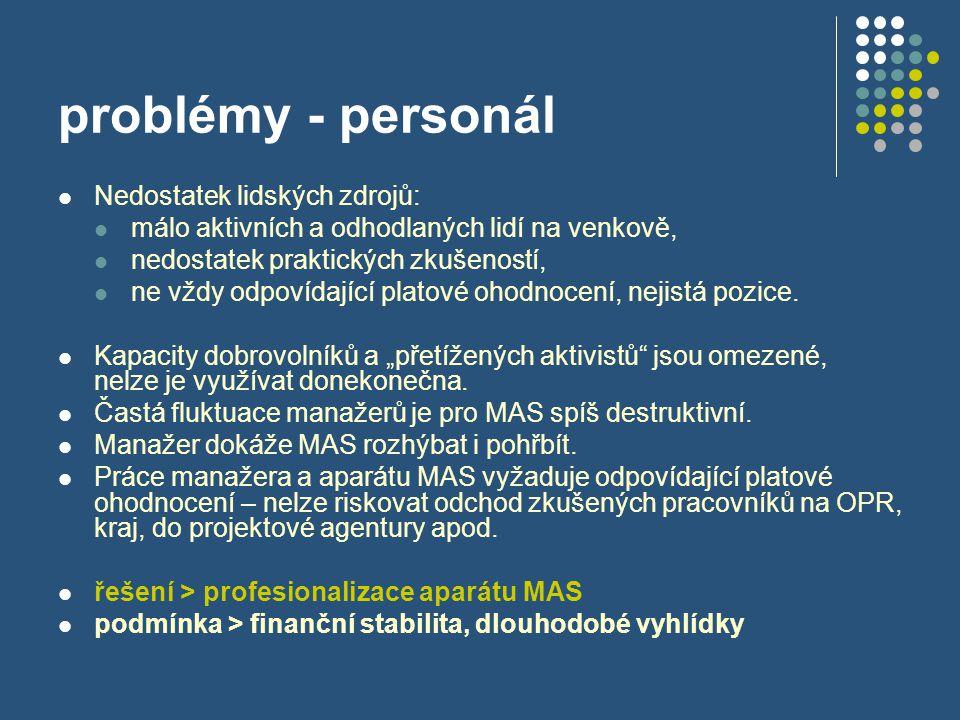 problémy - personál  Nedostatek lidských zdrojů:  málo aktivních a odhodlaných lidí na venkově,  nedostatek praktických zkušeností,  ne vždy odpov