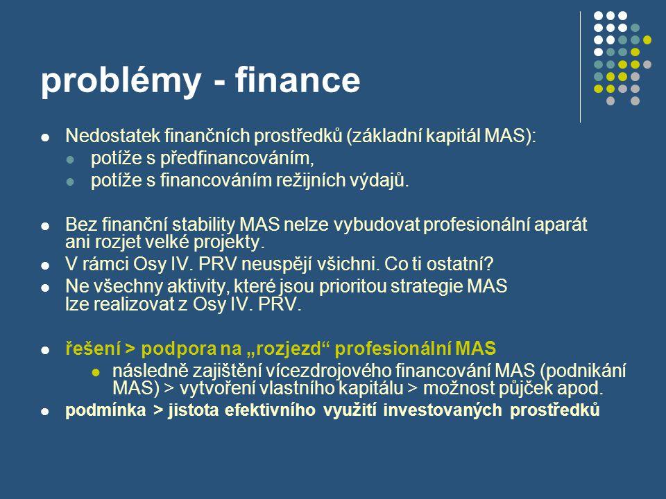 problémy - finance  Nedostatek finančních prostředků (základní kapitál MAS):  potíže s předfinancováním,  potíže s financováním režijních výdajů. 