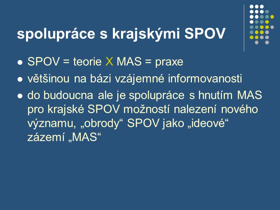 spolupráce s krajskými SPOV  SPOV = teorie X MAS = praxe  většinou na bázi vzájemné informovanosti  do budoucna ale je spolupráce s hnutím MAS pro