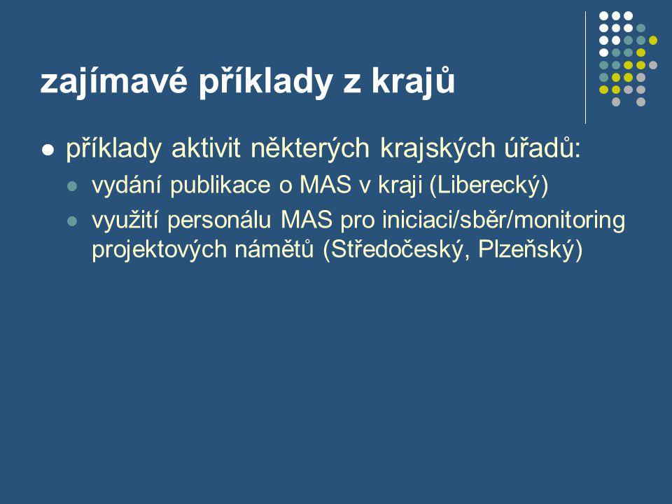 zajímavé příklady z krajů  příklady aktivit některých krajských úřadů:  vydání publikace o MAS v kraji (Liberecký)  využití personálu MAS pro inici