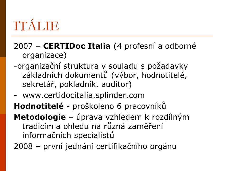 ITÁLIE 2007 – CERTIDoc Italia (4 profesní a odborné organizace) -organizační struktura v souladu s požadavky základních dokumentů (výbor, hodnotitelé,