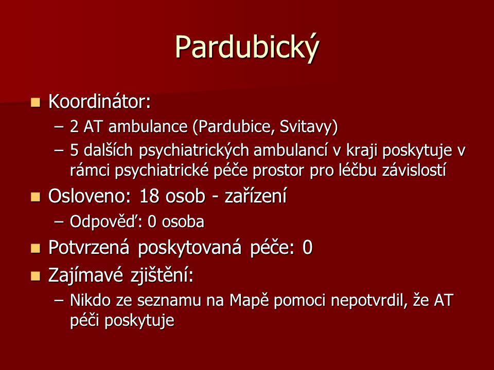 Pardubický  Koordinátor: –2 AT ambulance (Pardubice, Svitavy) –5 dalších psychiatrických ambulancí v kraji poskytuje v rámci psychiatrické péče prost
