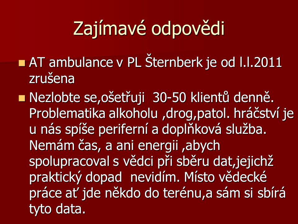 Zajímavé odpovědi  AT ambulance v PL Šternberk je od l.l.2011 zrušena  Nezlobte se,ošetřuji 30-50 klientů denně. Problematika alkoholu,drog,patol. h