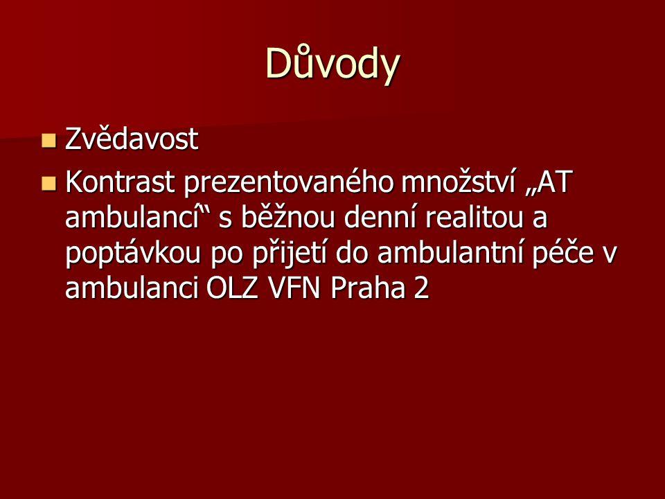 """Důvody  Zvědavost  Kontrast prezentovaného množství """"AT ambulancí"""" s běžnou denní realitou a poptávkou po přijetí do ambulantní péče v ambulanci OLZ"""