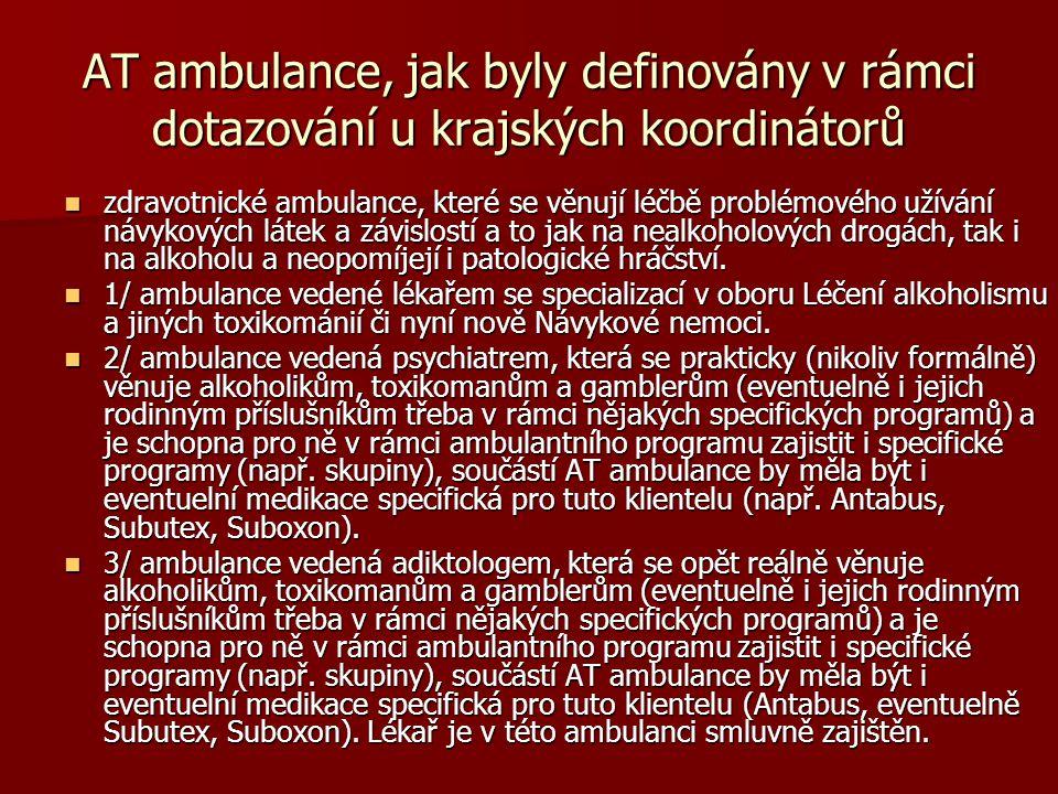 AT ambulance, jak byly definovány v rámci dotazování u krajských koordinátorů  zdravotnické ambulance, které se věnují léčbě problémového užívání náv