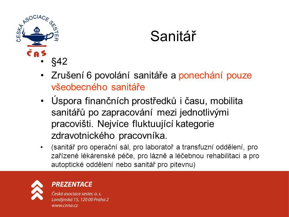 Sanitář •§42 •Zrušení 6 povolání sanitáře a ponechání pouze všeobecného sanitáře •Úspora finančních prostředků i času, mobilita sanitářů po zapracování mezi jednotlivými pracovišti.