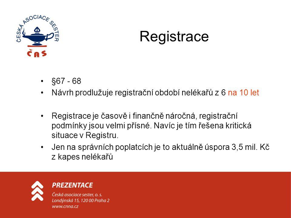 Registrace •§67 - 68 •Návrh prodlužuje registrační období nelékařů z 6 na 10 let •Registrace je časově i finančně náročná, registrační podmínky jsou velmi přísné.