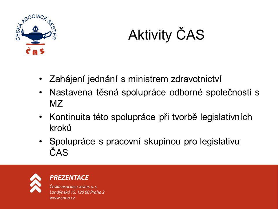 Aktivity ČAS •Zahájení jednání s ministrem zdravotnictví •Nastavena těsná spolupráce odborné společnosti s MZ •Kontinuita této spolupráce při tvorbě legislativních kroků •Spolupráce s pracovní skupinou pro legislativu ČAS