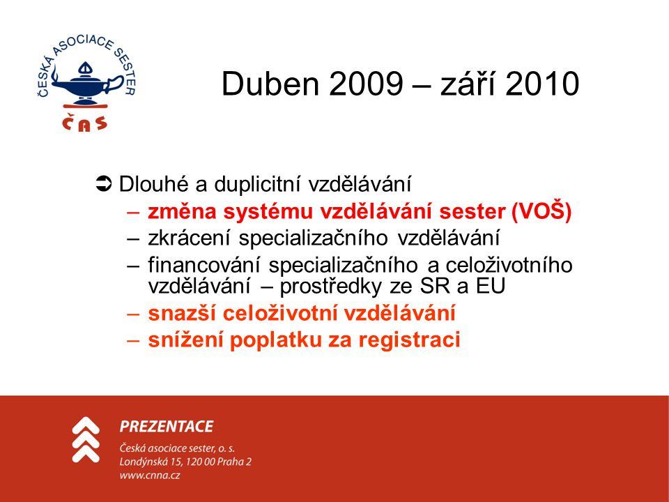 Duben 2009 – září 2010  Dlouhé a duplicitní vzdělávání –změna systému vzdělávání sester (VOŠ) –zkrácení specializačního vzdělávání –financování specializačního a celoživotního vzdělávání – prostředky ze SR a EU –snazší celoživotní vzdělávání –snížení poplatku za registraci