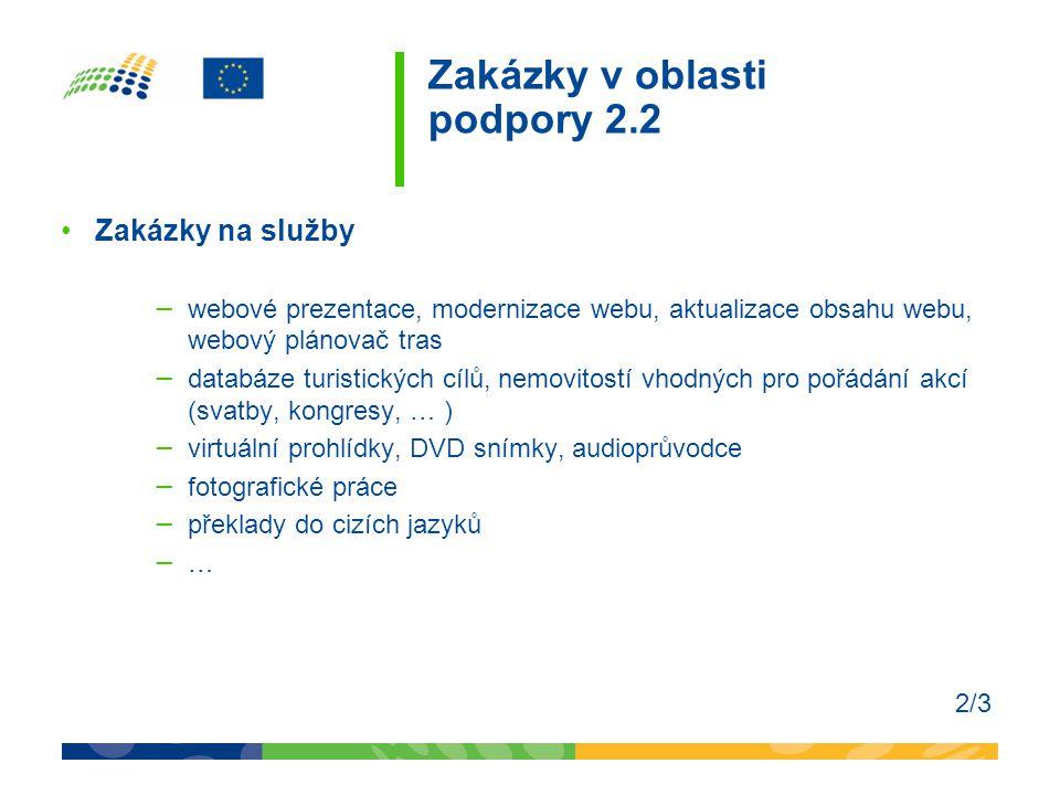 Zakázky v oblasti podpory 2.2 •Zakázky na služby − webové prezentace, modernizace webu, aktualizace obsahu webu, webový plánovač tras − databáze turis