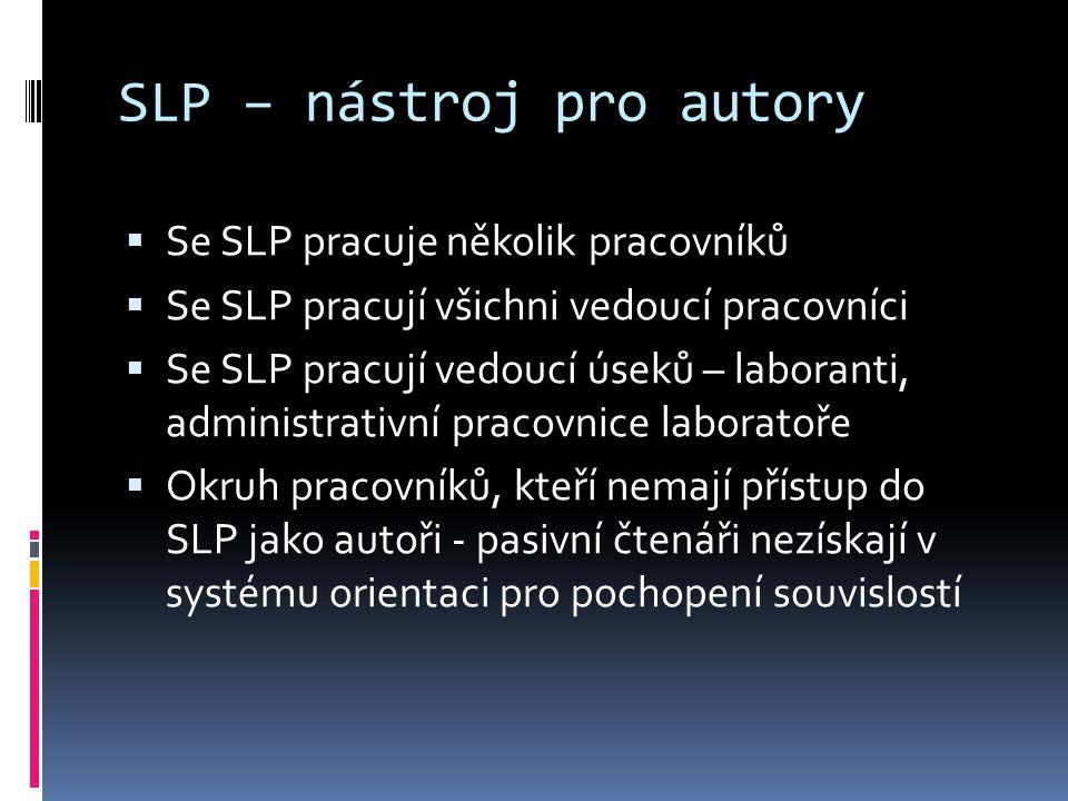 SLP – nástroj pro autory  Se SLP pracuje několik pracovníků  Se SLP pracují všichni vedoucí pracovníci  Se SLP pracují vedoucí úseků – laboranti, administrativní pracovnice laboratoře  Okruh pracovníků, kteří nemají přístup do SLP jako autoři - pasivní čtenáři nezískají v systému orientaci pro pochopení souvislostí