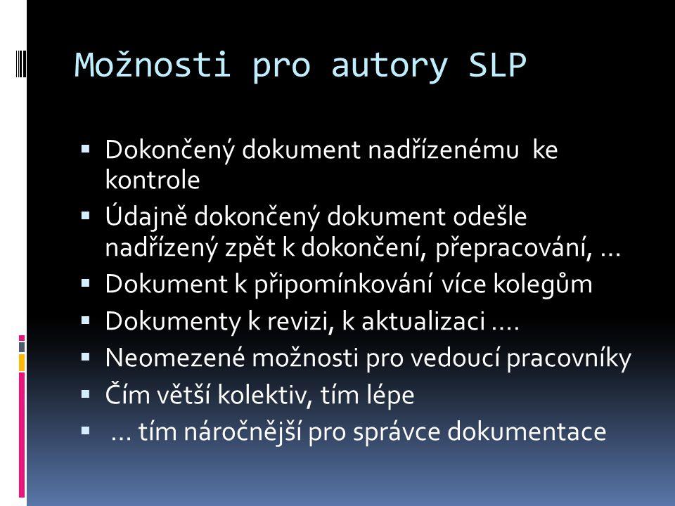 Možnosti pro autory SLP  Dokončený dokument nadřízenému ke kontrole  Údajně dokončený dokument odešle nadřízený zpět k dokončení, přepracování, …  Dokument k připomínkování více kolegům  Dokumenty k revizi, k aktualizaci ….
