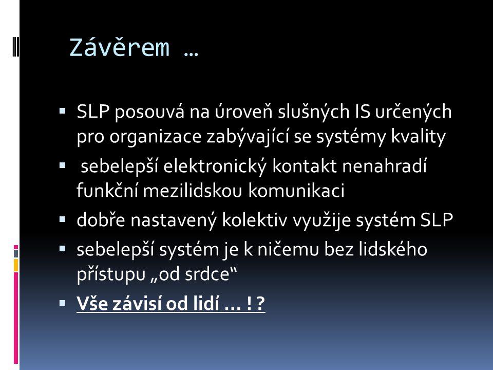 Závěrem …  SLP posouvá na úroveň slušných IS určených pro organizace zabývající se systémy kvality  sebelepší elektronický kontakt nenahradí funkční