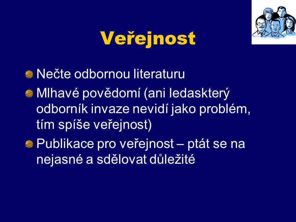 Veřejnost Nečte odbornou literaturu Mlhavé povědomí (ani ledaskterý odborník invaze nevidí jako problém, tím spíše veřejnost) Publikace pro veřejnost