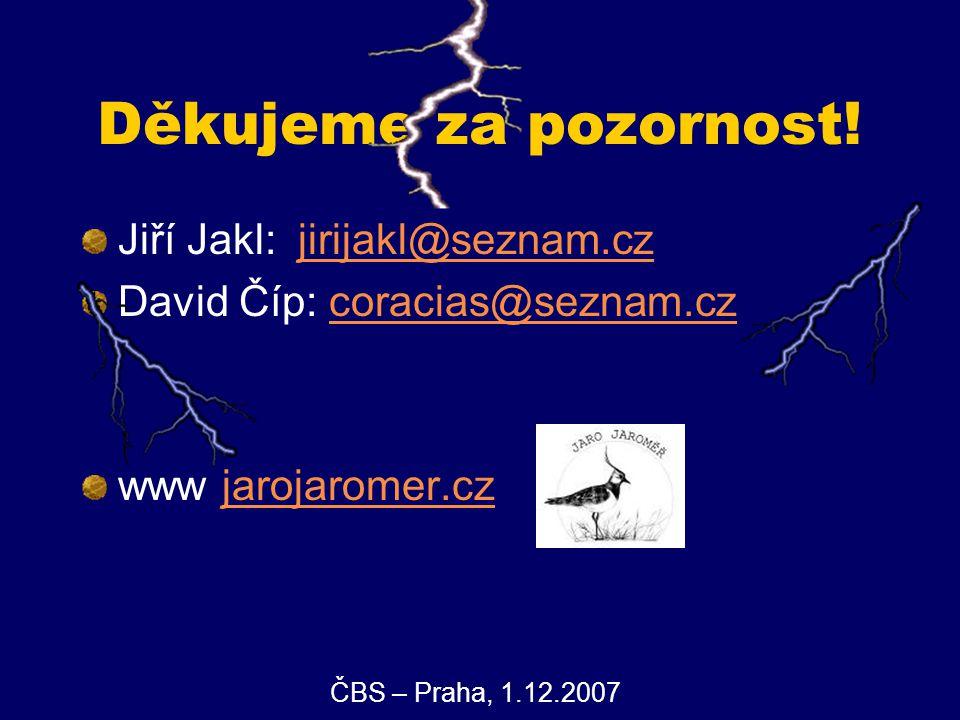 Děkujeme za pozornost! Jiří Jakl: jirijakl@seznam.czjirijakl@seznam.cz David Číp: coracias@seznam.czcoracias@seznam.cz www jarojaromer.czjarojaromer.c