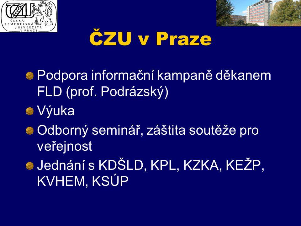 ČZU v Praze Podpora informační kampaně děkanem FLD (prof. Podrázský) Výuka Odborný seminář, záštita soutěže pro veřejnost Jednání s KDŠLD, KPL, KZKA,
