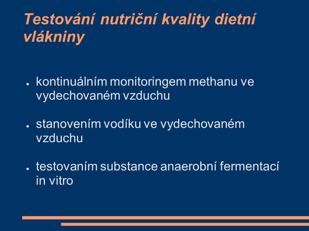 Testování nutriční kvality dietní vlákniny ● kontinuálním monitoringem methanu ve vydechovaném vzduchu ● stanovením vodíku ve vydechovaném vzduchu ● t