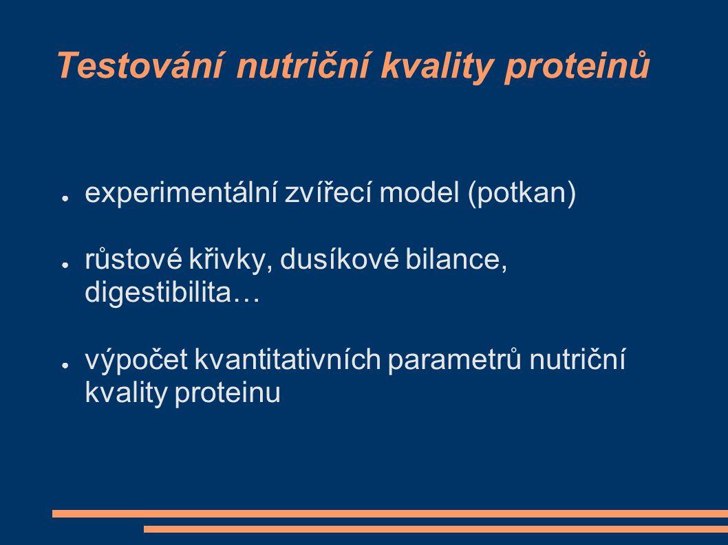 Testování nutriční kvality proteinů ● experimentální zvířecí model (potkan) ● růstové křivky, dusíkové bilance, digestibilita… ● výpočet kvantitativní