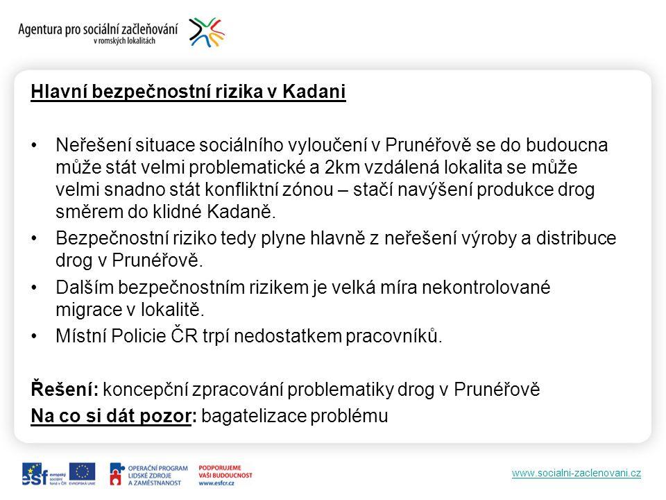 www.socialni-zaclenovani.cz Hlavní bezpečnostní rizika v Kadani •Neřešení situace sociálního vyloučení v Prunéřově se do budoucna může stát velmi prob