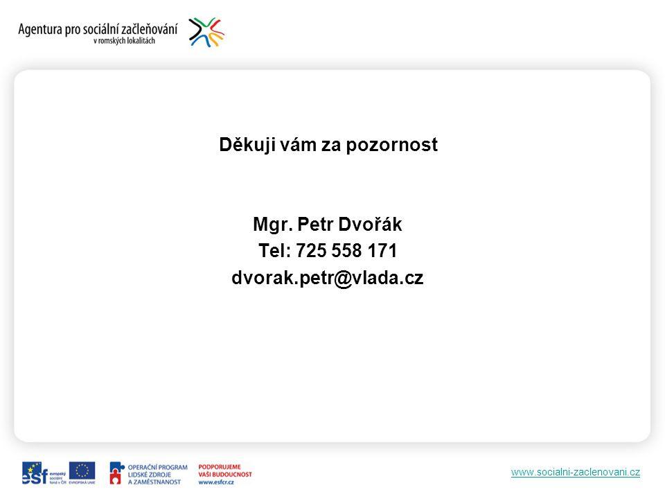 www.socialni-zaclenovani.cz Děkuji vám za pozornost Mgr. Petr Dvořák Tel: 725 558 171 dvorak.petr@vlada.cz