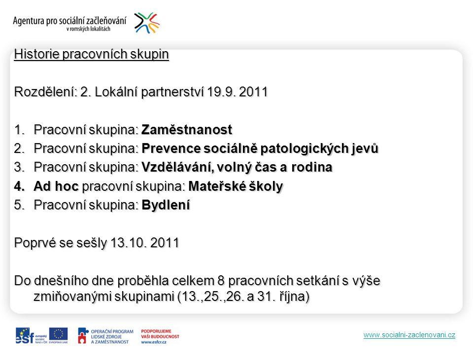 www.socialni-zaclenovani.cz Historie pracovních skupin Rozdělení: 2. Lokální partnerství 19.9. 2011 1.Pracovní skupina: Zaměstnanost 2.Pracovní skupin