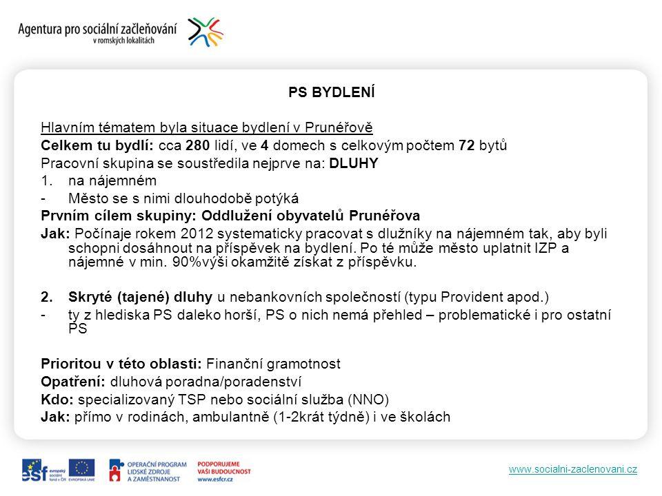 www.socialni-zaclenovani.cz PS BYDLENÍ Hlavním tématem byla situace bydlení v Prunéřově Celkem tu bydlí: cca 280 lidí, ve 4 domech s celkovým počtem 7