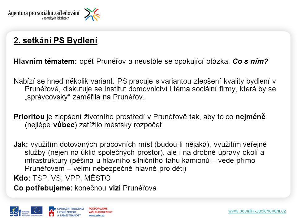 www.socialni-zaclenovani.cz 2. setkání PS Bydlení Hlavním tématem: opět Prunéřov a neustále se opakující otázka: Co s ním? Nabízí se hned několik vari