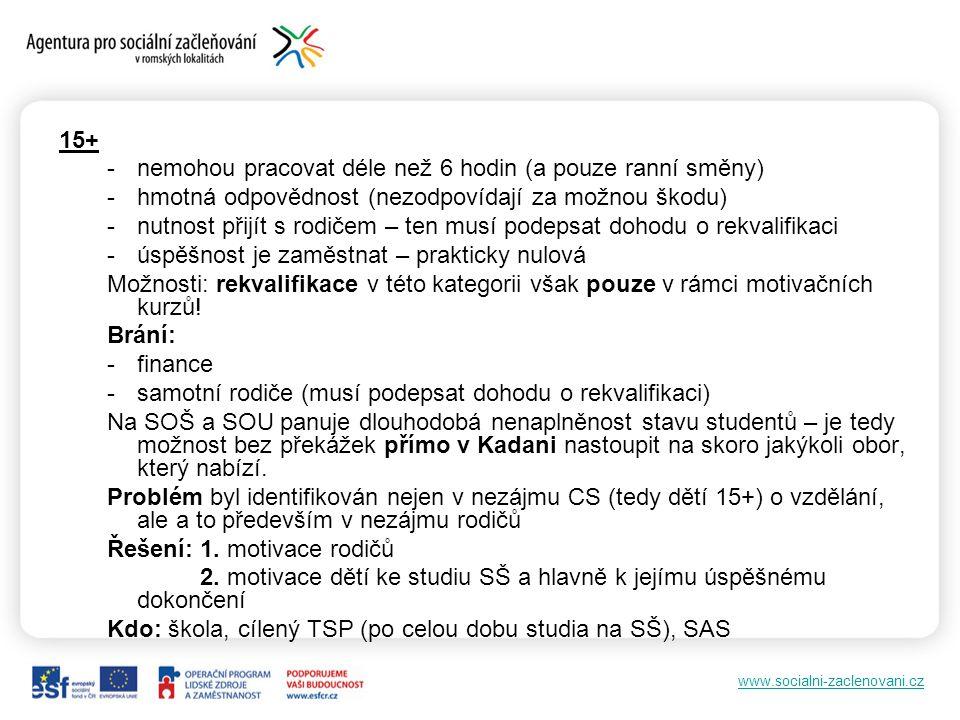 www.socialni-zaclenovani.cz 15+ -nemohou pracovat déle než 6 hodin (a pouze ranní směny) -hmotná odpovědnost (nezodpovídají za možnou škodu) -nutnost