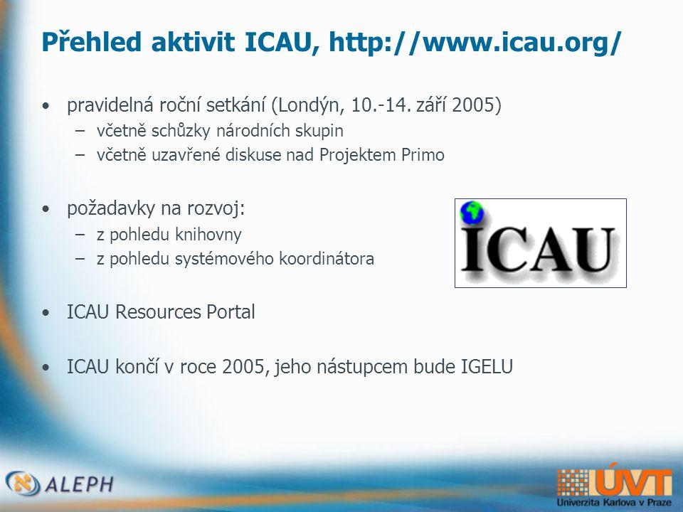 Přehled aktivit ICAU, http://www.icau.org/ •pravidelná roční setkání (Londýn, 10.-14.