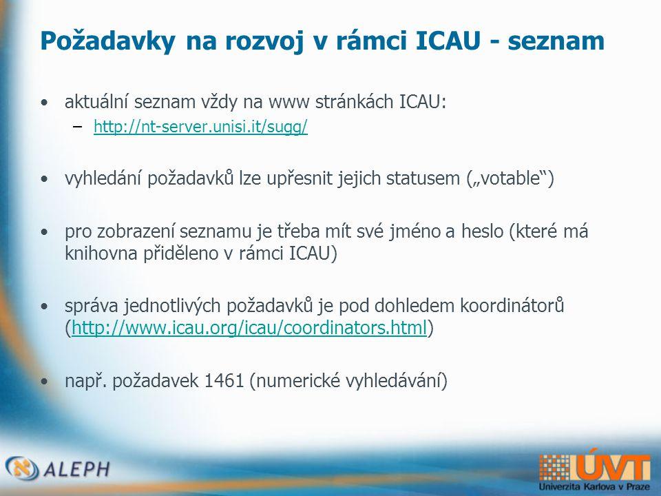 Nový portál ICAU •http://nt-server.unisi.it:8083/ICAUhttp://nt-server.unisi.it:8083/ICAU •obsahuje veřejnou a chráněnou zónu, které slouží jako zdroj pro: –uživatelskou dokumentaci –informace z konferencí a setkání –interní dokumenty –dokumenty národních skupin –doplňkové informace o právě implementovaných požadavcích na rozvoj