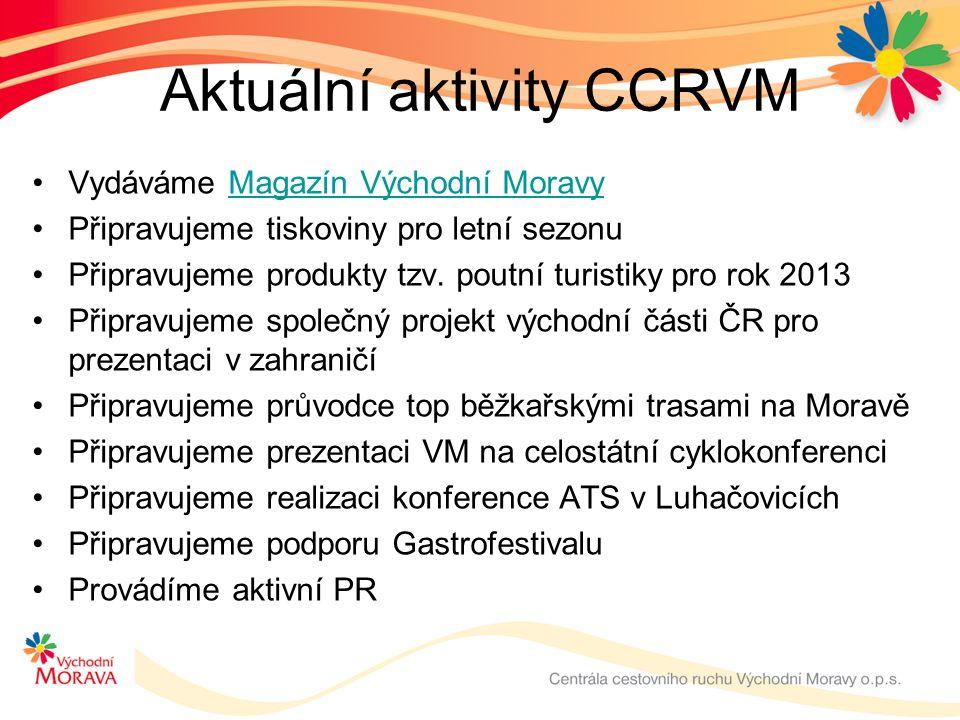 Aktuální aktivity CCRVM •Vydáváme Magazín Východní MoravyMagazín Východní Moravy •Připravujeme tiskoviny pro letní sezonu •Připravujeme produkty tzv.