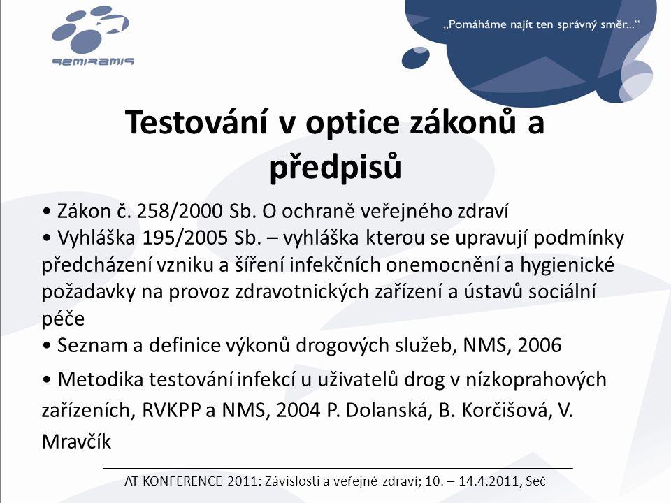 • Zákon č. 258/2000 Sb. O ochraně veřejného zdraví • Vyhláška 195/2005 Sb. – vyhláška kterou se upravují podmínky předcházení vzniku a šíření infekční