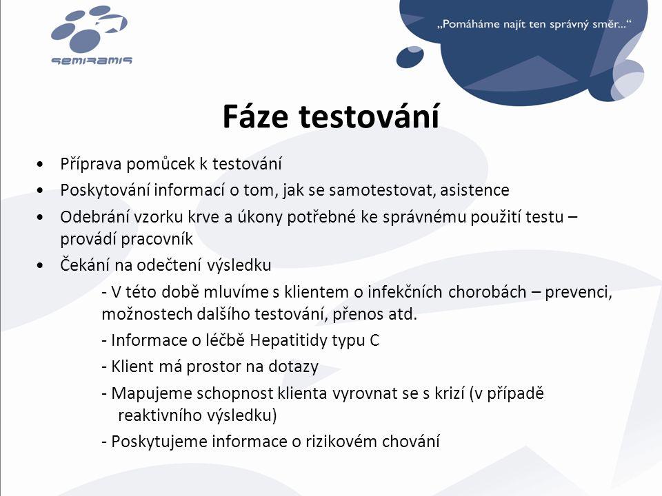 Fáze testování •Příprava pomůcek k testování •Poskytování informací o tom, jak se samotestovat, asistence •Odebrání vzorku krve a úkony potřebné ke sp