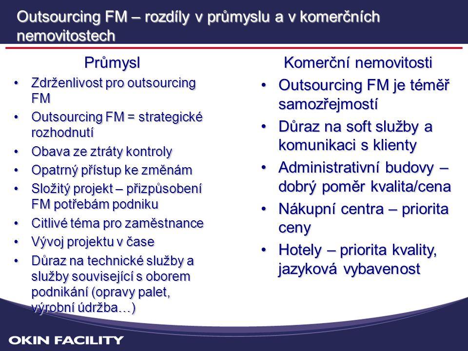 Outsourcing FM – rozdíly v průmyslu a v komerčních nemovitostech Průmysl •Zdrženlivost pro outsourcing FM •Outsourcing FM = strategické rozhodnutí •Obava ze ztráty kontroly •Opatrný přístup ke změnám •Složitý projekt – přizpůsobení FM potřebám podniku •Citlivé téma pro zaměstnance •Vývoj projektu v čase •Důraz na technické služby a služby související s oborem podnikání (opravy palet, výrobní údržba…) Komerční nemovitosti •Outsourcing FM je téměř samozřejmostí •Důraz na soft služby a komunikaci s klienty •Administrativní budovy – dobrý poměr kvalita/cena •Nákupní centra – priorita ceny •Hotely – priorita kvality, jazyková vybavenost