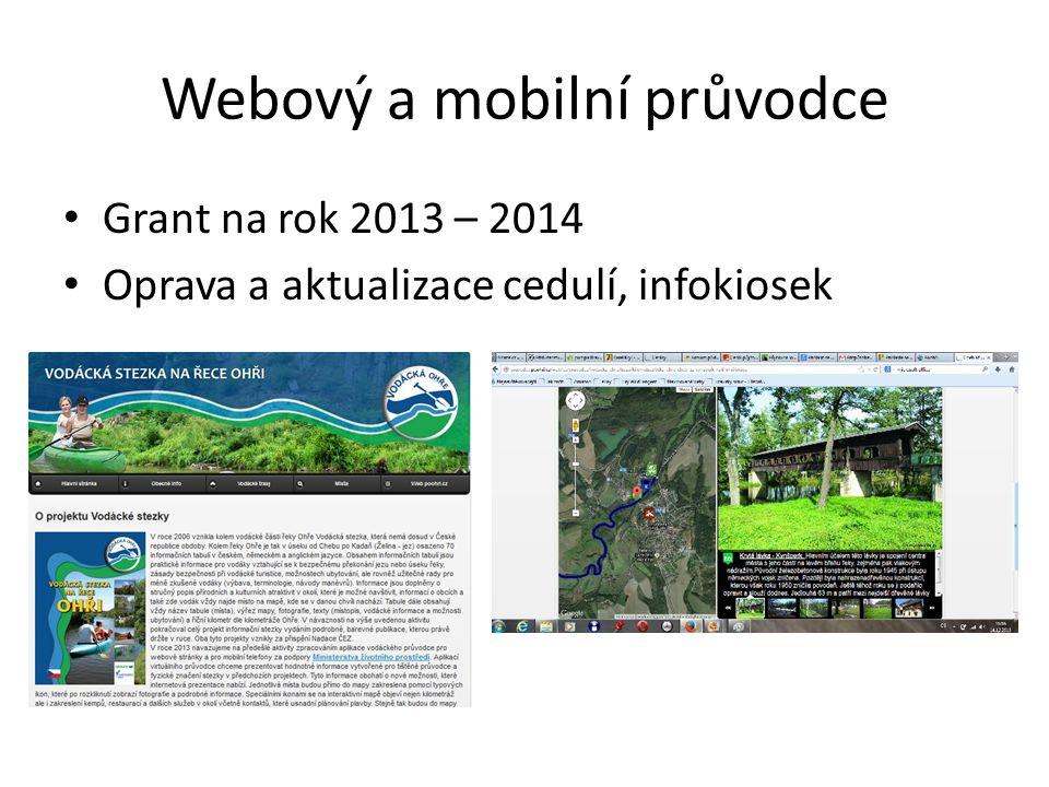 Webový a mobilní průvodce • Grant na rok 2013 – 2014 • Oprava a aktualizace cedulí, infokiosek