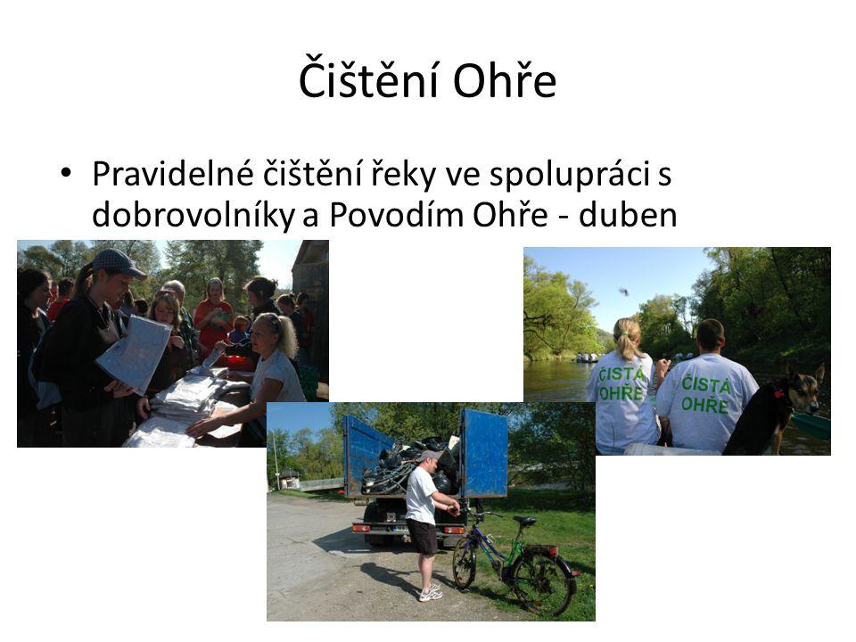 Čištění Ohře • Pravidelné čištění řeky ve spolupráci s dobrovolníky a Povodím Ohře - duben